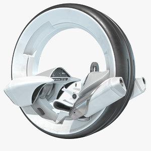 3D sci-fi futuristic wheel motorcycle