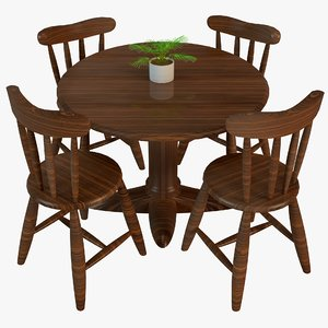 3D wooden dining table chair