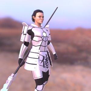 3D model sci-fi samurai girl