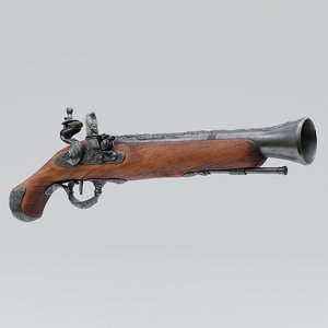 3D pirate flintlock pistol