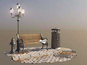 london vintage street set 3D model