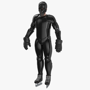 hummanoid hockey player black 3D model