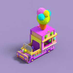3D ice cream truck toy