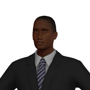 3D adult male black rigged character
