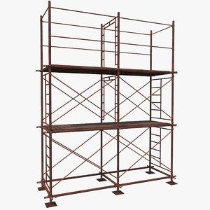 3D old scaffoldings modular industry model