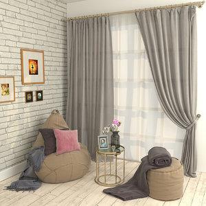 plaid curtain brick 3D