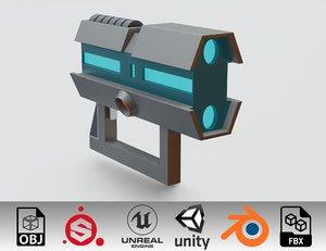 3D rick morty futuristic gun