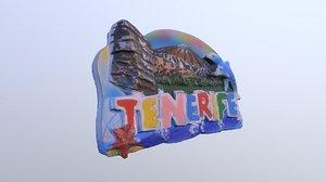 3D island tenerife spain magnet
