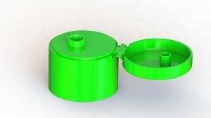 3D flip cap diameter