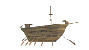 3D cartoon galley ship