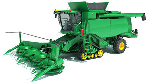 3D model tracked combine harvester