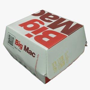 3D big mac burger box model