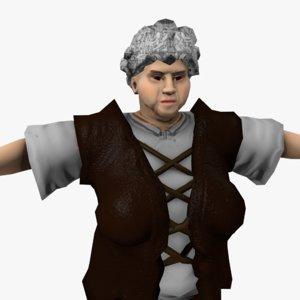 villager woman 3D model