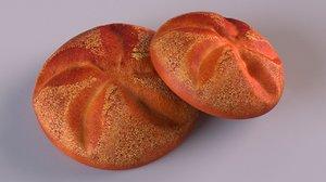 3D bun bread food