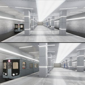 3D subway station 02 model
