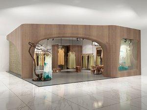 wooden female clothing boutique 3D model