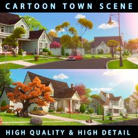 Cartoon Town Home Exterior Scene