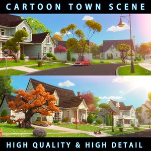 cartoon town home exterior scene 3D model