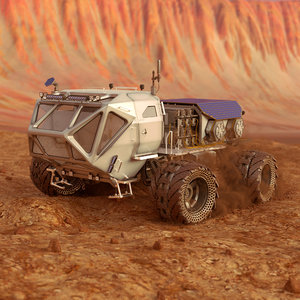 3D martian rover rigged animate