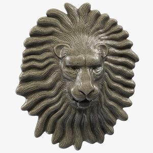 3D lion head stone relief