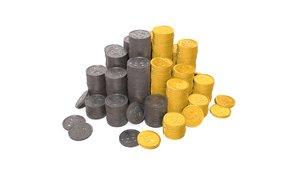 coins gold ron 3D