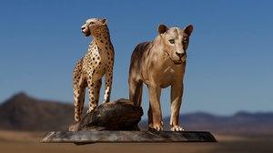 digital lion cheetah texturing 3D
