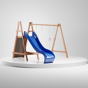 wooden swing slide set model