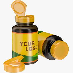 3D model pill bottle flip cap