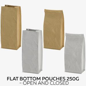 3D flat pouches 250g -