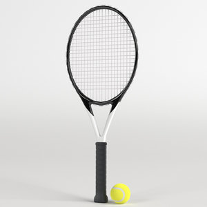 3D model tennis ball racket set