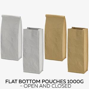 3D flat pouches 1000g -