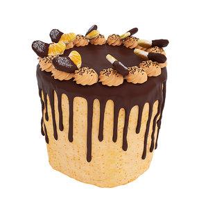 3D model chocolate cake tangerine