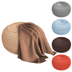 3D knitted ottomans plaid