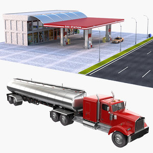 gas station fuel tank 3D