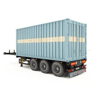 3D container semi trailer model