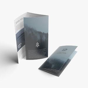 3D mockup folded leaflet brochure