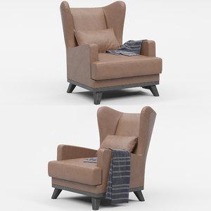 hoff ludwig armchair brown 3D model