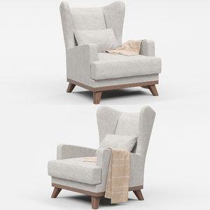 3D model hoff ludwig armchair