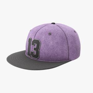 modern snapback baseball cap 3D model