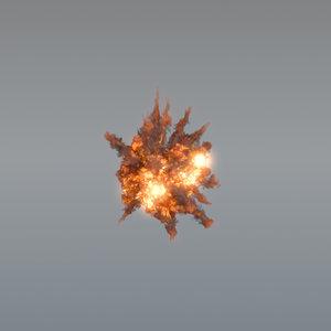 3D aerial explosion vdb smoke model