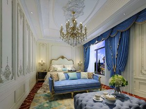interior scene bright bedroom 3D