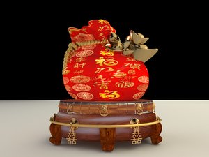 chinese moneybag display stand 3D