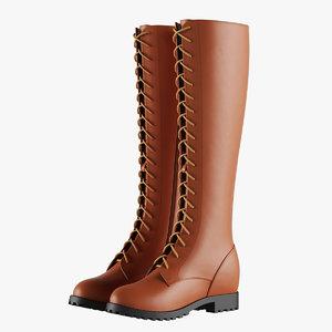 knee brown boots 3D model