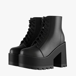 platform ankle boots 3D model