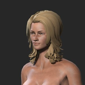 character rigged naked 3D model