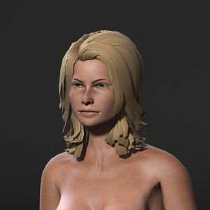 3D model character rigged naked
