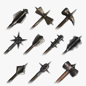 medieval hammers maces weapons 3D model