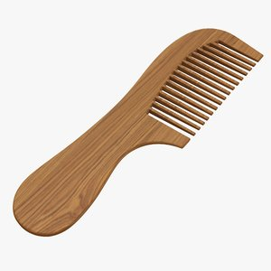 hair comb wooden 3D model