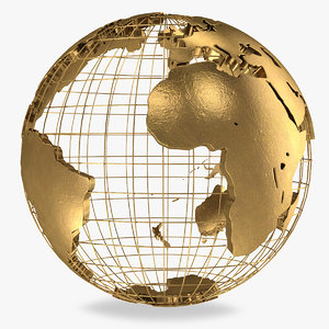 golden earth globe 3D model
