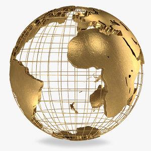 golden earth globe 3D model